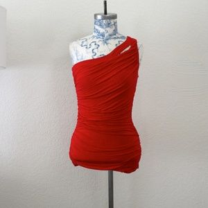 Red One Shoulder Ruched Top